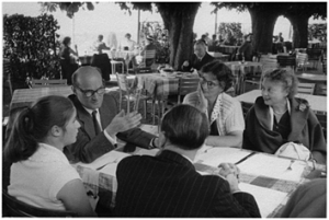 G. Adler and Hilde Kirsch, next to Liliane Frey-Rohn; on the right his daughter Miriam Stone. First Meeting Executive Committee of IAAP in 1956 w Sonnenberg Hotel, Zürich
